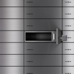 Open Safety Deposit Box. 3D render with HDRI lighting and raytraced textures.